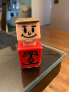 Vintage Playskool McDonalds 1974 Square People Man Red Shirt Tie brown hair