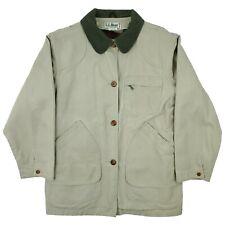 Vtg LL Bean Women's Beige Canvas Removable Blanket-Lined Barn Coat Jacket Medium