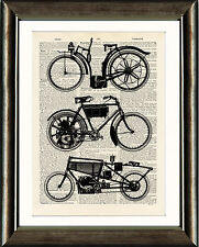 Antique Book page Art Print - Vintage Motorcycles Dictionary Page Wall Art