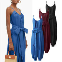 UK Womens Sleeveless Strap Baggy Jumpsuits Casual Loose Wide Leg Harem Playsuits