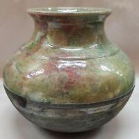 Hand Thrown Raku Vase Iridescent Green Crackle Glaze Ceramic Vase FORD 2002 SN