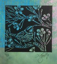 "LYNN KEATING AUSTRALIAN BLACK INK LINOCUT ON GREEN  ""SMALL BIRD"" 2015"