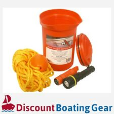 Boat Safety Bailer Kit - Marine Rope Torch Whistle Signal Mirror Compass Bucket