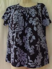 Croft & Barrow Blue Short Sleeve Top Size Petite Large Women's