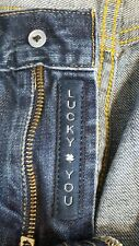 Lucky Brand Mens 363 Vintage Straight Jeans Whiskered Dark Wash Distressed 34/29