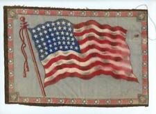"c 1910 Antique Felt Cigarette Tobacco Blanket 48 Star American Flag 11"" x 7.5"""