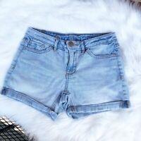 Lauren Conrad Womens Jean Shorts Denim Roll Cuff Blue Cotton Blend Size 2 EUC