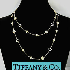 NYJEWEL Tiffany & Co 18K Beautiful Two Tone Gold Heart Link Ladies Necklace