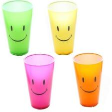 Smiley Face Neon Coloured Tall Childrens Plastic Beaker