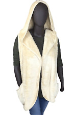 New! ZENANA plus size ivory sherpa hooded outerwear vest