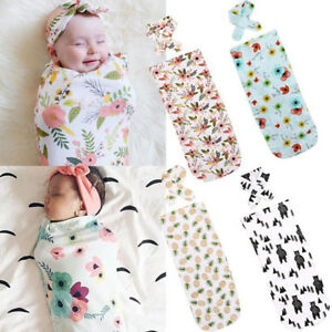 Newborn Baby Sleeping Bags With Hairband Kit Swaddle Wrap Soft Infant Supply QL