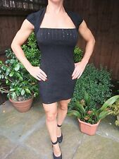 RIVER ISLAND Black Bodycon Midi Dress Party Evening Formal Pencil ~ Size 10 VGC
