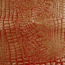 Unique  Red Gold Croc Alligator Imprint Leather Hide Skin Furniture x07m o
