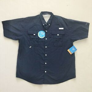 NWT Columbia PFG Bahama II Navy Blue Short Sleeve Vented Outdoor Fishing Shirt L