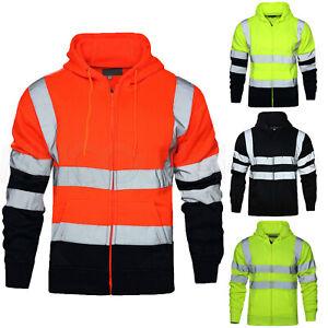 Hi Viz Vis Hoodie High Visibility Workwear Full Zip Sweatshirt Reflective Jacket