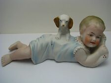 "BISQUE FIGURINE ""Baby Girl & Dog"" PIANO BABY PORCELAIN FIGURES Germany ca1900s"