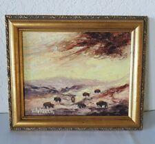 Vintage Signed HITCHCOCK Western Landscape BISONS OIL ART PAINTING Framed