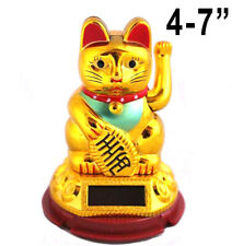 "Chinese Lucky Cat Waving Arm Good Luck 3"" - 7"" Feng Shui Japanese Solar Powered"