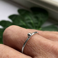 HANDMADE SOLID STERLING SILVER ORGANIC PEBBLE STACKING RING 925 SMALL
