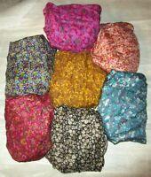 LOT PURE SILK Vintage Sari REMNANT Fabric 7 Pcs 1 ft Small Flower Print #,AEL4