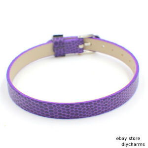 10pcs 8*210mm Snake-Skin PU Leather Wristband Fit 8mm Slide Charms/Letters