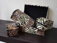 Dekobote, Holz Afrika 4er Boxen Set, Aufbewahrungsbox Schatule Geschenk Safari