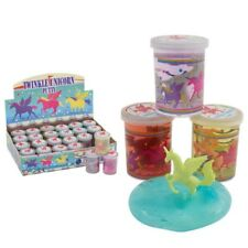 4x Unicorn Figure Glittery Gel Tub Mouldable Slime Putty Assorted Shapes Colours
