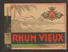 ETIQUETTE de RHUM / RHUM VIEUX / PAYSAGE & BLASON ANTILLAIS