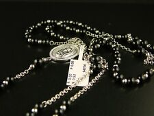 10K White Gold Rosary Diamond Necklace Chain Onyx 36