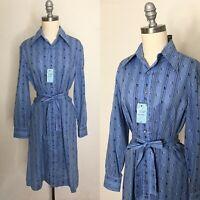 Vintage 70s Shirtmaker Shirtwaist Shift Dress Size Large