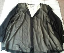 Catherines Women's Ladies Misses Blouse Black Polyester Twofer w/Cream Tank 3X