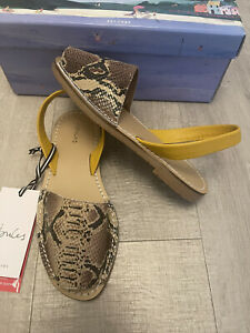 JOULES. Ladies 'Nova Menorcan' Snake Print Leather Sandals. Size Uk 4. NEW.