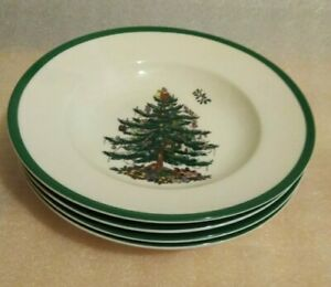 "Spode Christmas Tree 9"" Soup Plates Pasta Bowls Green Trim Set of 4 New"
