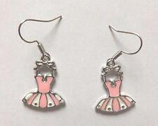 Boucles d'oreilles argentées robe rose et blanc 21x16 mm