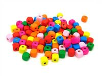 10mm Mixed Colour PLAIN WOODEN  Cube Beads Jewellery Craft Beading Kids ML