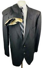 Vintage Mens 56R Black Stripe 2 Piece Suit With Dress Pants 52Wx29L