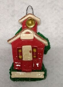 Vintage Calliope Design Little Red Schoolhouse with Bell  Christmas Ornament