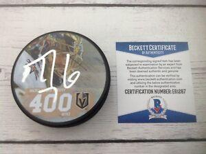 Marc Andre Fleury Signed 400th Win Vegas Knights Hockey Puck Beckett BAS COA a
