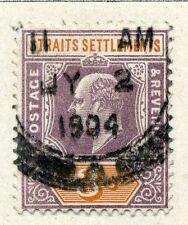 STRAITS SETTLEMENTS;  Early 1900s Ed VII issue 3c. fine used value