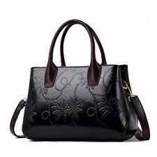 Women's Elegant Leather Handbags Floral Printed Satchel Tote Sling Shoulder Bag