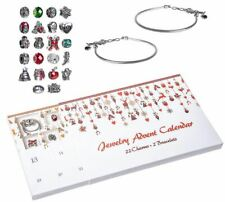 NEW Jewelry Advent Calendar Christmas Countdown 24 pc Charm Bracelet Silver Tone