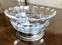 VINTAGE DIVIDED Dish Etched Floral Ruffled Crystal W/ STERLING SILVER BASE 5.5""