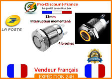 1 Bouton Poussoir Interrupteur ORANGE LED Métal 5v - 36v 2A Arduino Voiture 12v