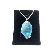 AQUA AURA SPIRAL CRYSTAL PENDANT NECKLACE 925 silver chain 4.25 cm drop