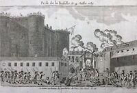 Prise de la Bastille 14 juillet 1789 rarissime gravure révolution française