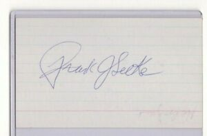 FRANK SELKE SR SIGNED 3x5 INDEX CARD AUTOGRAPH (D1985) NHL CANADIENS MAPLE LEAFS