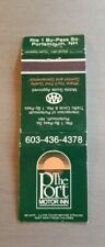 Vintage Matchbook The Port Motor Inn Portsmouth New Hampshire Rt 1 By Pass South