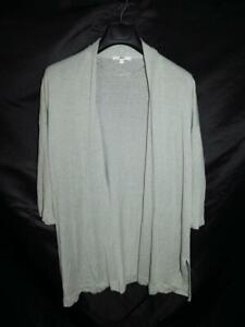 Uniqlo M Sage Green Cardigan Sweater Open Draped Front Linen Rayon Knit Tunic