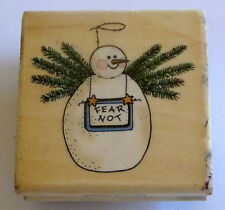 Snowman Fear Not Rubber Stamp Angel Carrot Nose Branches Wings Sandi Gore Evans