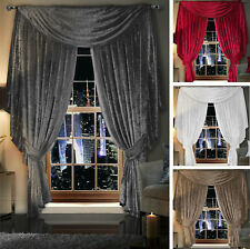 Crushed Velvet Curtains Pencil Pleat Tape Top - Optional BEADED Scarf Drape